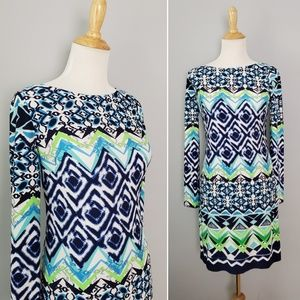 Vince Camuto Blue & Green Long Sleeved Dress